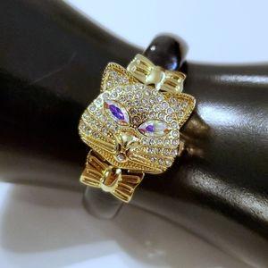 Avon AB Crystal Cat Watch Cover Gold Bracelet NIB